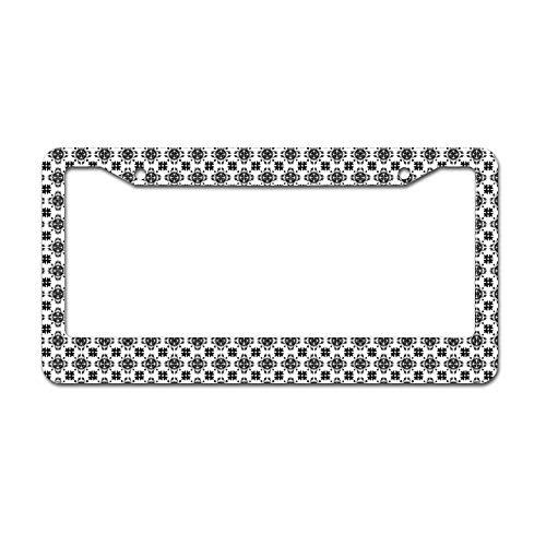 Mesllings Tegel Zwart En Wit Naadloos Patroon Plate Frame, Licentie Tag Houder 12
