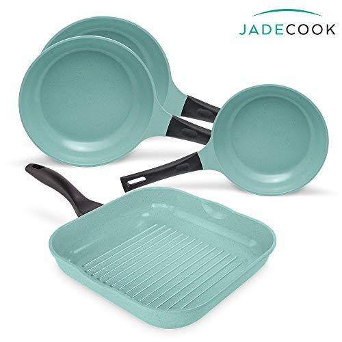 4 PACK JADE COOK (2 sartenes de 24 cm, 1 sartén de 20 cm y 1 sartén grill). Cocina SANO, RÁPIDO y…