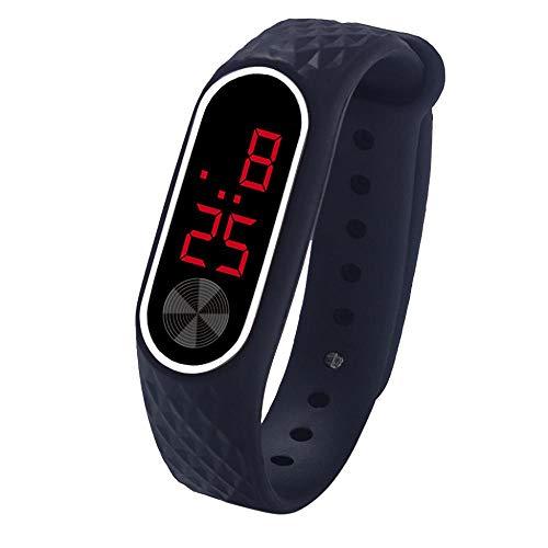 Tonsee LED Digitalanzeige Armbanduhr Fitness Armband Silikon Stoppuhren Sportuhren Schrittzähler Kalorienzähler Sport Smart Uhr Mode Sport Uhr Schrittzähler Uhr für Damen Herren und Kinder (A)