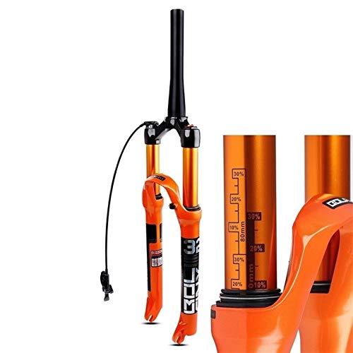 LSRRYD Horquilla Suspensión Bicicleta 26 27.5 29 Pulgadas MTB Ultraligero Tubo Cónico 1-1/2' Horquilla Freno Disco Amortiguador Aire Bicicleta Liberación Rápida HL RL Viaje 105mm 1650g Naranja