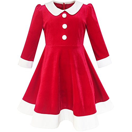 Sunny Fashion LL36 Girls Dress Christmas Hat Red Velvet Long Sleeve Holiday Size 10