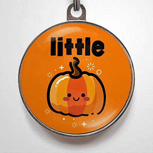 Little Pumpkin Cute Halloween Fall Collar Colour Options Personalized Pet ID Tags, 1.38-1.5inch Cat Dog ID Tag & Two Sided Dog Name Tag.