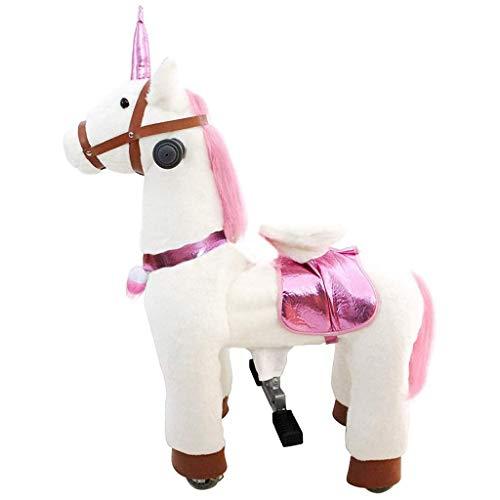 Caballo Mecanico 28.3in mecánica paseo en caballos de montar a caballo blanco y rosado del unicornio No Batería No Electricidad Giddy mecánica de hasta Pony de juguete de felpa que recorre por Edad 3+