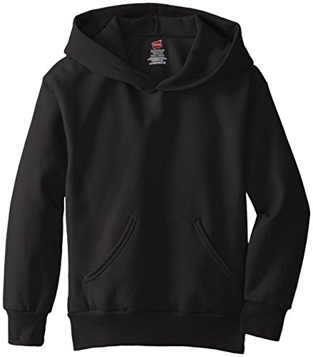 Hanes Big Boys' Eco Smart Fleece Pullover Hood, Black, Large