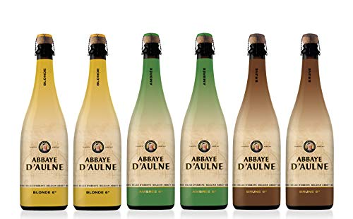 Abbaye D'Aulne - Pack Degustación Cerveza de Abadia Belga - 2 x Blonde | 2 x Ambrée | 2 x Brune - Pack de 6 Botellas de 75 cl