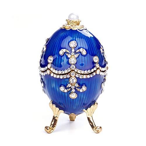 QAVILFLY Caja de la baratija, caja de la decoración del huevo, caja de la joyería con bisagras para la decoración del hogar caja de joyería adornos clásicos