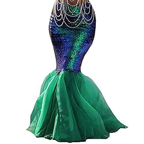 Damen Meerjungfrau Kostüm Rock Halloween Cosplay Phantasie Pailletten Long Tail Kleid mit asymmetrischen Mesh-Panel (Grün, L)