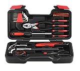 Werkzeugkiste 39-teiliges Werkzeugset DIY Handwerkzeuge Haushalt Werkzeugset für Zuhause, Zimmerei und Holzbearbeitung mit Schraubendreher Set im Koffer für Damen oder Herren