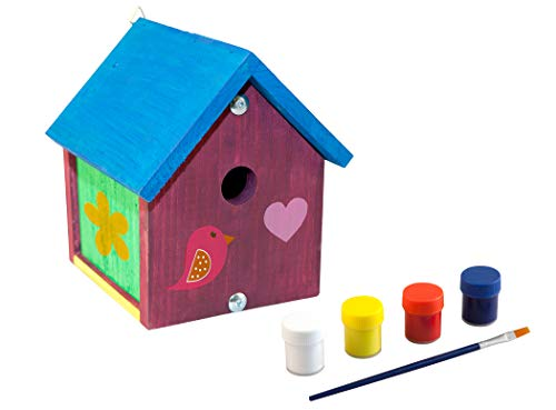 Nistkasten Bausatz Vogelhaus Vogelnistkasten Brutplatz zum selbst bauen und bemalen beige inkl. Farben und Pinsel