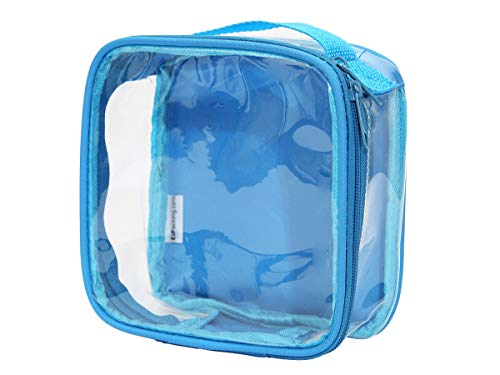 Clear TSA Approved 3-1-1 Travel Toiletry Bag for Carry On / Quart Size Transparent Liquids Pouch for Airport Security & Carry On / Reusable See Through Vinyl & PVC Plastic Organizer for Men and Women (Turquoise)