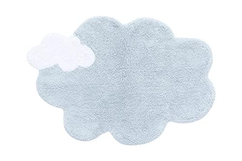 Lorena Canals - Alfombra Lavable para habitación de niños. MiniOnes Dream en Color Azul y Blanco - Hecho a Mano en Forma de Nube y con Algodón Natural y Tintes Ecológicos - Tamaño:70x100cm