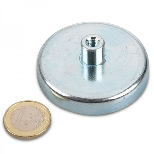 Ferrit platte grijper Ø 57,0 x 12,0 mm, bus M6, 28 kg, verzinkte stalen pan, bruikbaar tot 200 °C, magneet schroefdraad bus