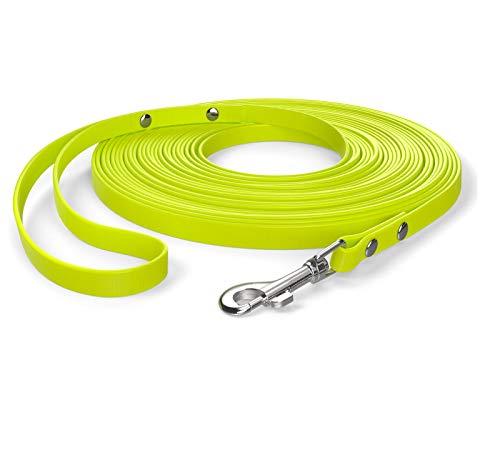SNOOT 10m Schleppleine, Hundeleine, Handschlaufe, Neon-Gelb, extra schmal, schmutz- und wasserabweisend