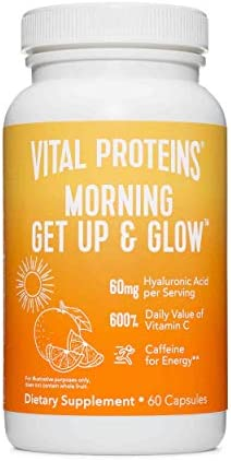 Vital Proteins Morning Get Up and Glow Capsules 90mg Caffeine for Energy Vitamin C Biotin Hyaluronic product image