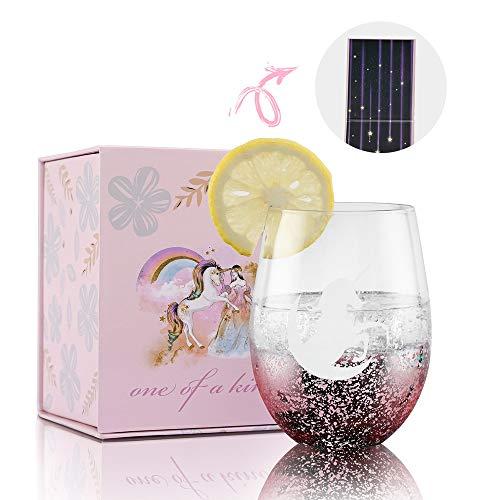 Einhorn Geschenke für Frauen & Mädchen, Einhorn Sachen, Weingläser Ohne Stiel mit Einer Perfekten Geschenkbox, Weihnachten, Geburtstag, Einweihungsparty für Einhorn- und Weinliebhaber Rosa