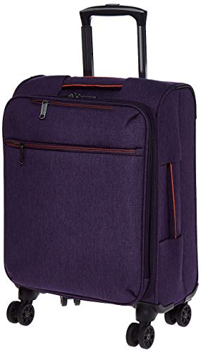 Amazon Basics – Maleta con ruedas flexible acolchada Belltown, 52 cm, Morado