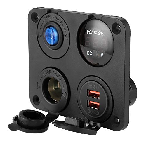 Switch Panel, Car Voltmeter USB Car Charge 4 Hole for MP3 Players