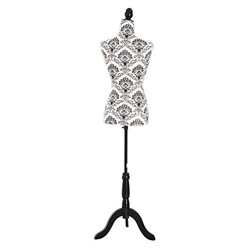 HOMCOM Busto de Señora Maniquí Femenino de Costura para Modistas Exhibición Altura Ajustable a 130-168cm