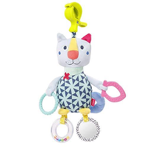 Fehn 055368 Activity-Katze mit Klemme COLOR Friends – Spielzeug zum Greifen und Entdecken für Babys und Kleinkinder ab 0+ Monaten – Fördert den Tastsinn – Größe: 30 cm