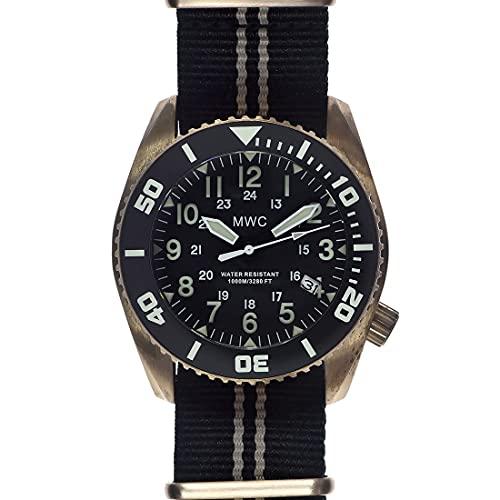 MWC Limited Edition Bronze MWC 24h Depthmaster 100atm Automático Negro Fecha Bronce Tela NATO Diver Reloj Hombre