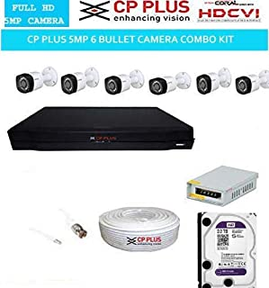 CP PLUS Full HD 5MP Cameras Combo KIT 8CH HD DVR+ 6 Bullet Cameras+2TB Hard DISC+ Wire ROLL +Supply & All Required CONNECTORS