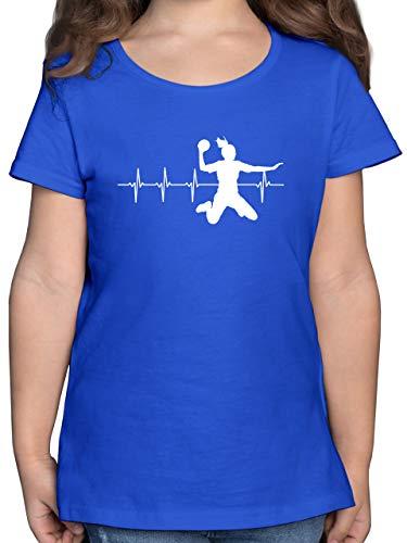 Sport Kind - Handball Herzschlag für Damen - 152 (12/13 Jahre) - Royalblau - Handball t-Shirt Damen - F131K - Mädchen Kinder T-Shirt