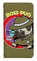 [AQUOS zero2 SHV47] ベルトなし スマホケース 手帳型 ケース アクオスゼロツー 8320-D. BossPug02オーカー かわいい 可愛い 人気 柄 ケータイケース ヌヌコ 谷口亮