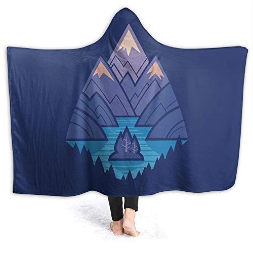 XCNGG Manta con capucha de Mountain Lake azul cómoda manta para cuatro estaciones de franela antibolitas, adecuada para sofás para adultos y niños, mantas de cama de 50 pulgadas x 40