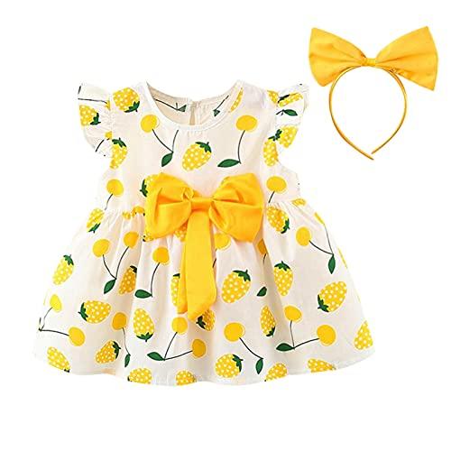 Mercatoo Vestido infantil de verão para meninas de 1 a 5 anos com franzido e faixa de cabeça para o verão e para a praia