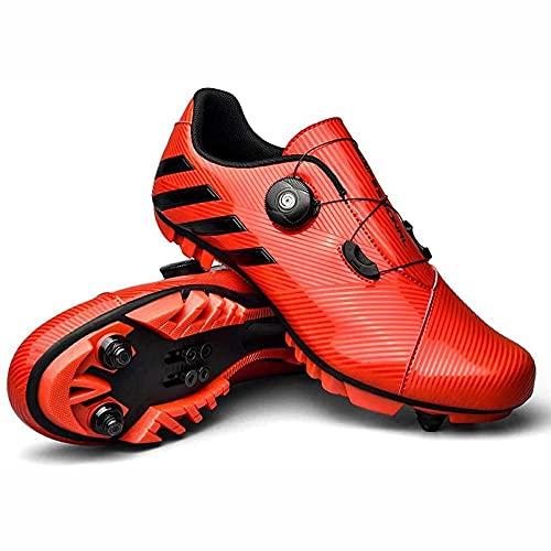 HYQW SPD MTB Zapatillas De Ciclismo para Hombres Mujeres Ideal para Montaña Cyclo Cross Country XC Bicicletas Incluidas VIIPOO,Red-43 EU