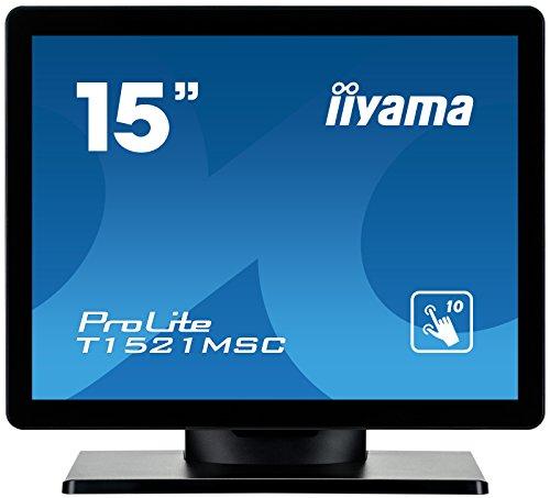 """iiyama ProLite T1521MSC-B1 38 cm (15"""") LED-Monitor XGA 10 Punkt Multitouch kapazitiv (VGA) IP3 Front, schwarz"""