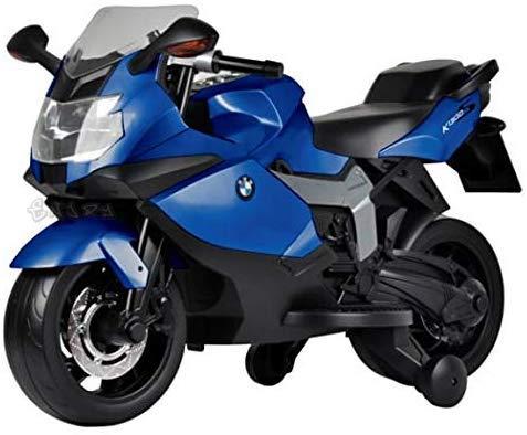 Moto Elettrica per Bambini Motocicletta BMW 12V con luci LED Suoni (Blu)
