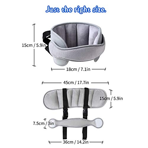 Car Head Support Toddle Car Neck Relief Baby Child Car Seat Adjustable Head and Neck Support Band - A Comfortable Sleep Solution (Gray)