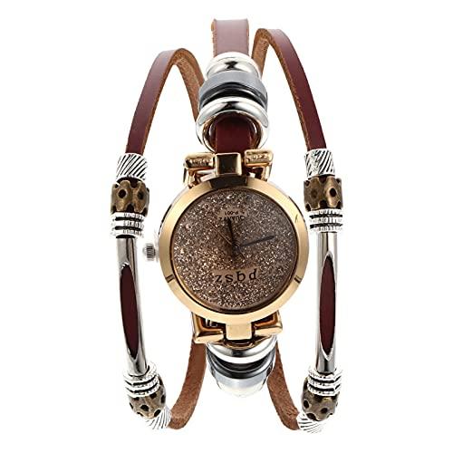 ibasenice Pulsera de Reloj de Cuero para Mujer Vintage Casual Bohemio Cristal Cuarzo Pulsera Hecha a Mano Pulseras para Hombres Unisex Amantes de Las Señoras Novia Marrón