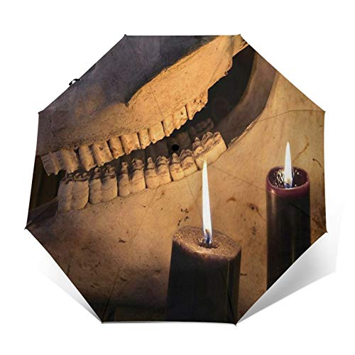SUHETI Compact Travel Umbrella Windproof Automatic,Horror Halloween and Black Magick Concept Scary Teeth of Horse Skull and Two Black Candles,Waterproof Umbrella
