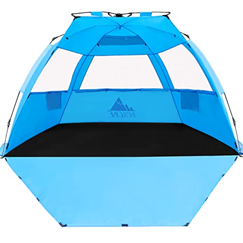 NXONE XL Pop Up Beach Tent, Deluxe Sun Shade Shelter for 4 Person, UPF 50+ Protection, Windproof Beach Shade, Extendable Floor with 3 Ventilating...