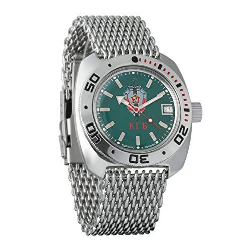 VOSTOK Amphibian KGB 710945 - Reloj de Pulsera para Hombre (Correa de Malla, 200 m, Amphibia Diver)