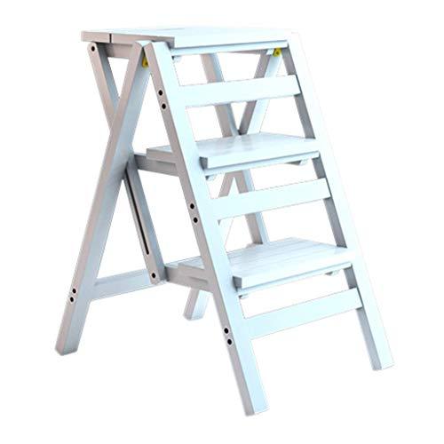 JPL Inicio Taburetes, escaleras de tijera plegables Taburete de bambú de 3 escalones para adultos Cocina para niños Escaleras de madera Multifunción Seguridad Interior Zapatero portátil/Estante de