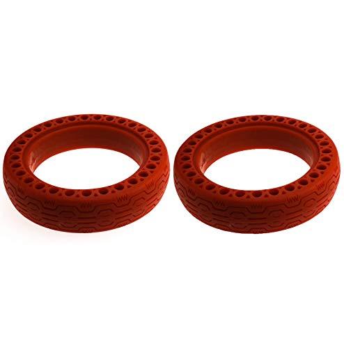 Linghuang - Rueda de neumático Delantera/Trasera de 8,5 Pulgadas, neumático de Repuesto sólido para Xiaomi Mijia M365 Scooter eléctrico Skate Rosso*2