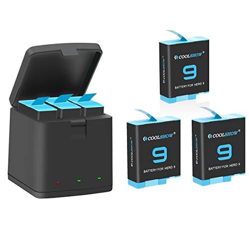 COOLSHOW 3 Akkus mit 3-Kanal USB Speicherladegerät für GoPro Hero 9 Black,GoPro Hero 9