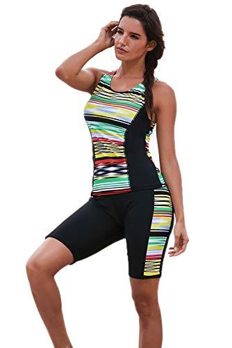 DarkCom Dames Zwemkleding Tankini Sets, Twee Stukken Rashguard Badpakken Kleur Blok Strandkleding met Shorts