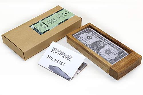 The Heist: caja de rompecabezas de madera para regalo con compartimentos ocultos – Puzle de puerta corredera para dinero y entradas con cerradura secreta.
