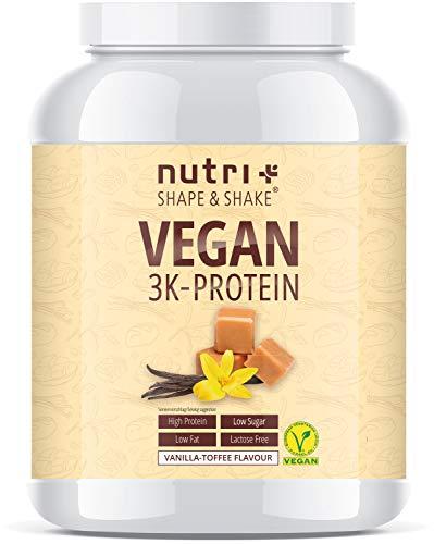 PROTEIN VEGAN Vanilla Toffee 1kg - 80,8{d216aa5ca01c09ee5d946ec22e63f5fbe5b3c4dc3fcf43ef16192ec4ab6c8696} Eiweiß - 3k-Proteinpulver Vanille Karamell - laktosefreies Eiweißpulver Low Sugar - Nutri-Plus Shape & Shake Pulver - 1000g Eiweißshake