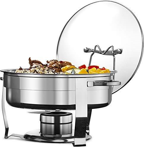 Chafing Dish, by Kook, Warmer, Stainless Steel with Glass Lid, Includes Rack, 4.5qt, Set of 4