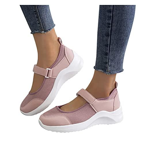 Winging Zapatos casuales de mujer moda Zapatillas deporte ocio al aire libre con cuñas transpirables Calzado casual suela gruesa color sólido aumentado deportivo de talla grande 37-42 EU