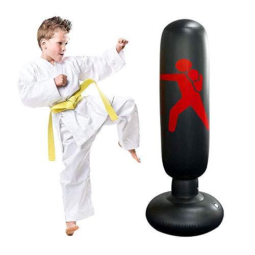 Opaltool Fitness-Boxsack, aufblasbarer Kinder-Zielsack, freistehend, für Sport, Stressabbau, Boxen, Stressabbau, Boxsack, Training, Fitness, Sandsack, 160 cm (schwarz)