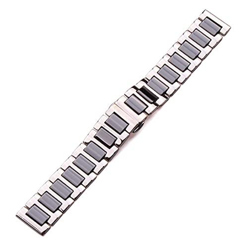 16 18 20 mm Pulsera de acero inoxidable Eslabones de cerámica medios Banda de reloj Hombres Dama Blanco Negro Accesorios de reloj Correa de reloj Pulsera (Color de banda: Negro, Ancho de banda: 1