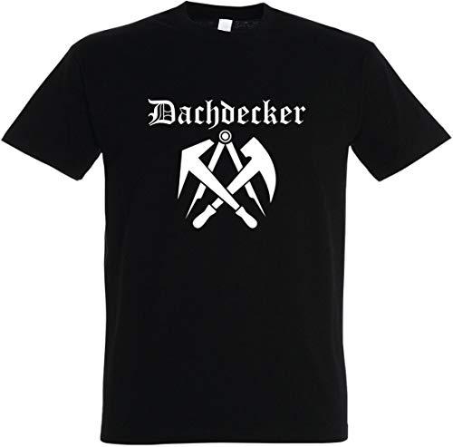 "Herren T-Shirt Dachdecker Zunftwappen 2\"" S bis 5XL (L, Schwarz)"