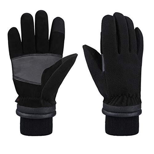 CCBETTER, guanti invernali da uomo caldi da lavoro per touch screen – 30°F freddo, pelle di daino in pile termico 2019 Nero M