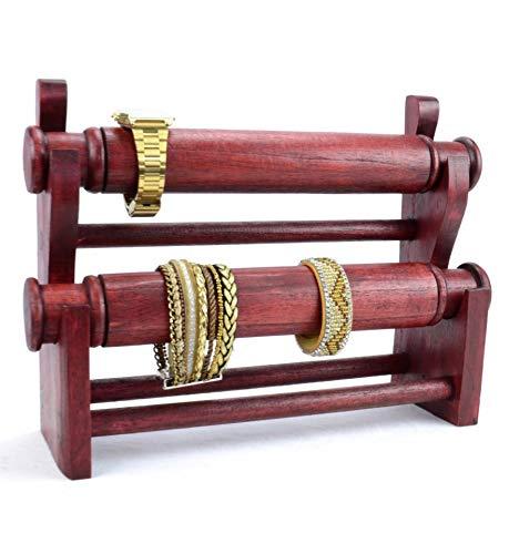 Porta bracciali e orologi da polso, 2 bastoni in legno massiccio colorato, colore: rosso